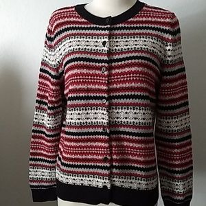 Talbots red, gray and white cardigan